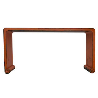 Orange Lacquered Asian Style Console Table