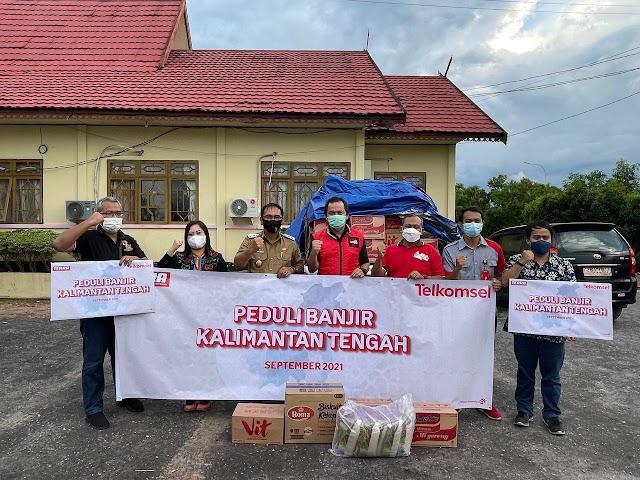 Telkomsel Salurkan Bantuan Peduli Banjir Katingan dan Bantuan Penanganan Covid-19 di Palangka Raya