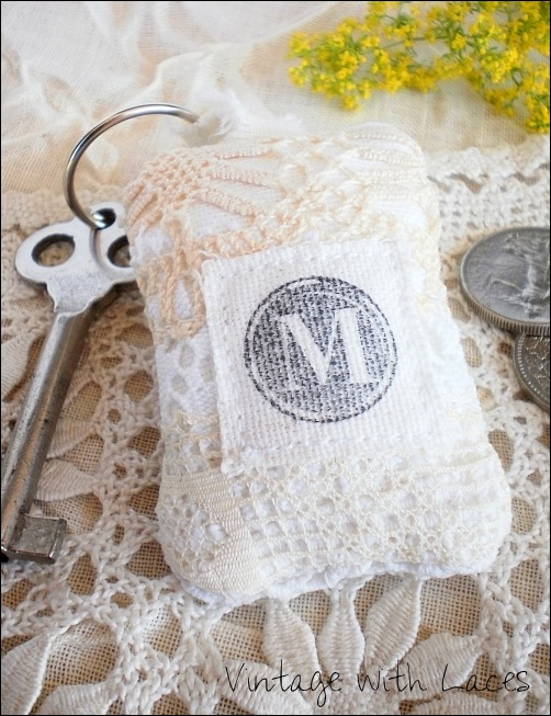 Lace Key Chain with Monogram by Vintage with Laces