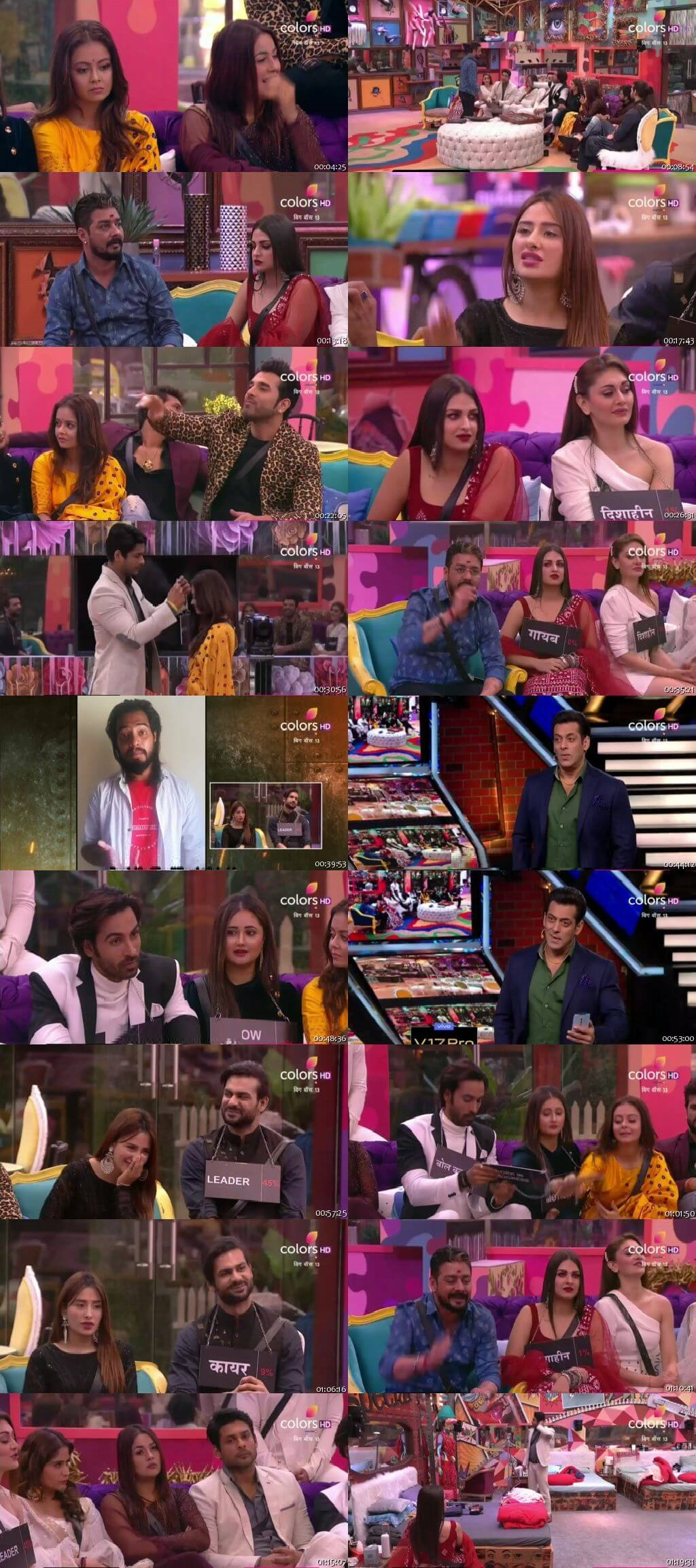 Screenshots Of Hindi Show Bigg Boss 13 16th November 2019 Episode 47 300MB 480P HD