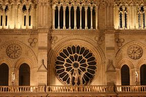 Notre Dame's facade at night