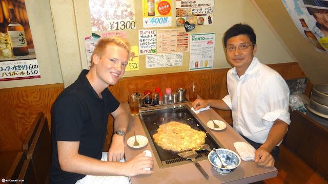 monjayaki lunch wiith my former neighbor Hideaki in Tokyo, Tokyo, Japan