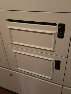 Lockers for Collective Works members come in different sizes. Each locker has a combination lock of four digits instead of the standard three for extra security, and a slot at the top for mail.