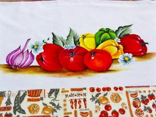pintura pimentoes tomates e alho