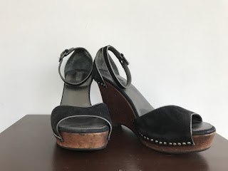 Prada Wood and Suede Wedges