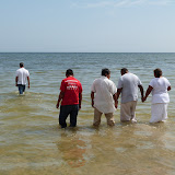 Leading the way to the site of the baptisms. I'll take the ocean over the baptistry any day!