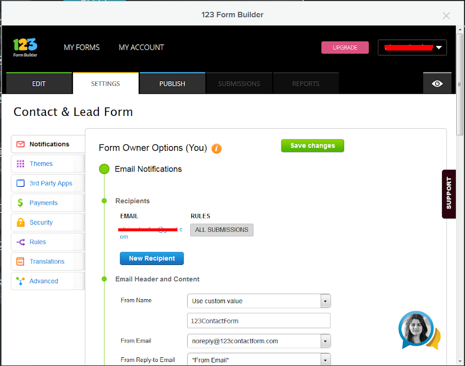 123 Form Builder for Weebly - Form Settings