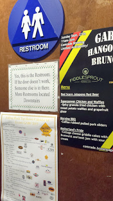 Signage to assist you in finding the restroom at Falling Rock Taphouse