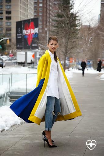 Zendaya Coleman; Singer: Actress; Minuku coat; Acne shirt; Rag and Bone jeans; Louboutin shoes;