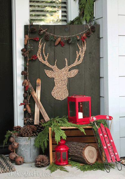 Simple rustic winter front porch the kim six fix for Easy front porch christmas decorations