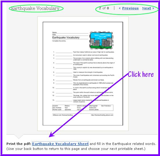 English Daily Workout Earthquake Vocabulary Printable – Earthquake Worksheets
