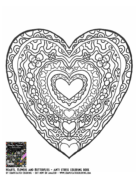 Hearts Flowers And Butterflies Plicated Coloring Free Adult Colouring