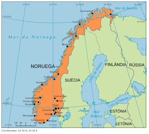 Blog de Geografia Mapa da Noruega
