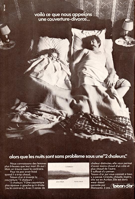 Publicité vintage : Voilà ce que nous appelons une couverture-divorce... - Pour vous Madame, pour vous Monsieur, des publicités, illustrations et rédactionnels choisis avec amour dans des publications des années 50, 60 et 70. Popcards Factory vous offre des divertissements de qualité. Vous pouvez également nous retrouver sur www.popcards.fr et www.filmfix.fr