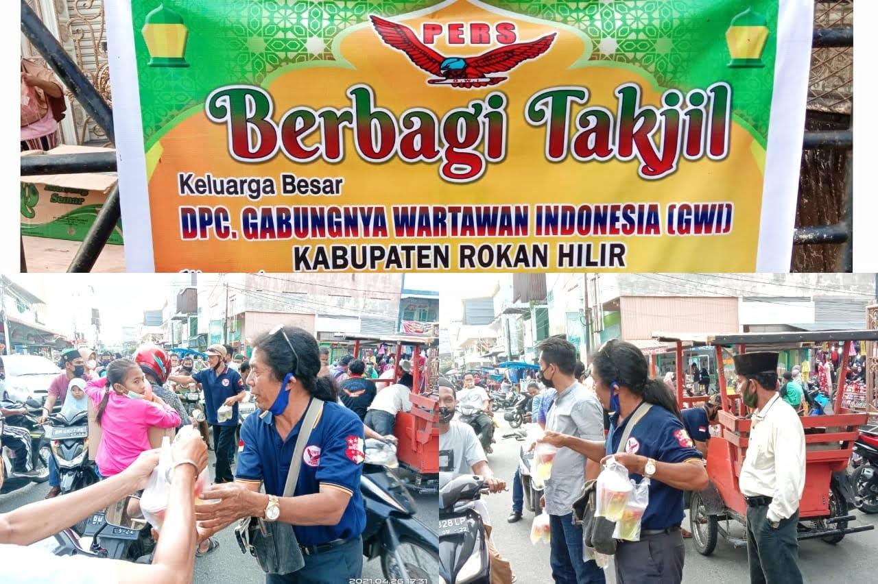 DPC Gabungnya Wartawan Indonesia Rohil, Berbagi Takjil ke Masyarakat Bagansiapi-api