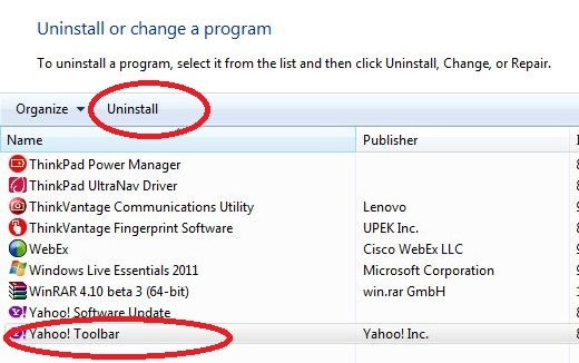 Uninstall yahoo toolbar