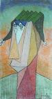 204 - Mandrillette - 2007 60 x 120 - Craie, acrylique sur toile