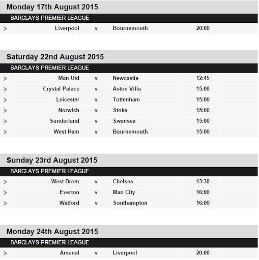Premier League Fixtures 2016-17