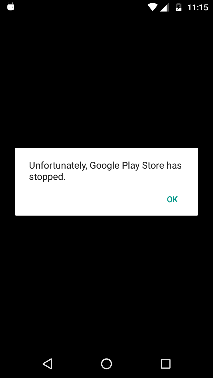 Error: Unfortunately, Google Play Store has stopped  - Aide