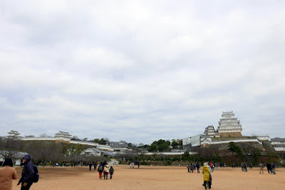 Open area around Himeji Castle as you approach it from Himeji Station