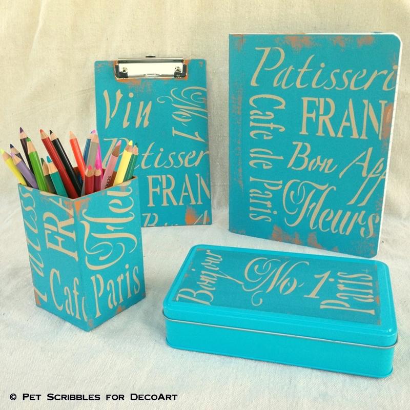blue painted desk accessories