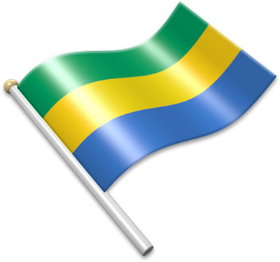 The Gabonese flag on a flagpole clipart image