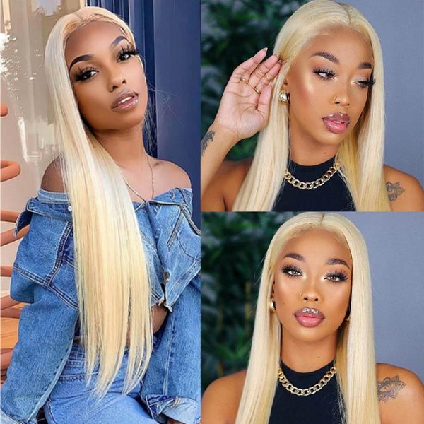 Blonde Hair Lace Front Wigs Human Straight