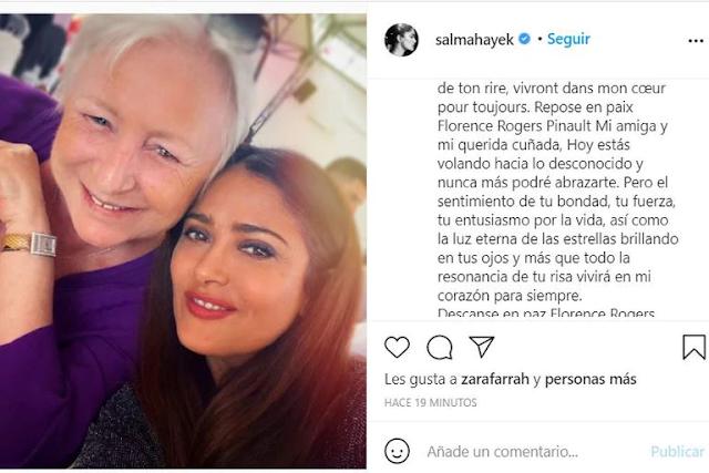 """""""No podré abrazarte"""": el desgarrador mensaje de Salma Hayek por la muerte de su cuñada"""