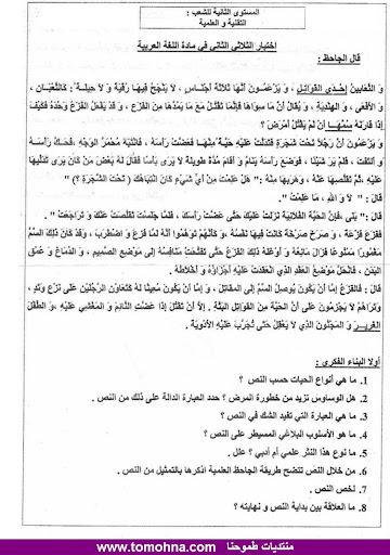 الاختبار الثاني في الادب العربي للسنة الثانية ثانوي شعب علمية - نموذج 6 - 3-1.jpg