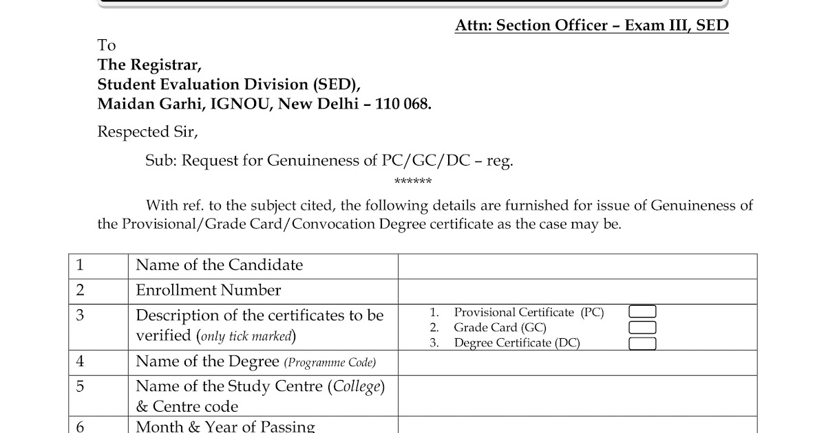 Ignou new form for getting genuineness certificate fees rs 200 for ignou new form for getting genuineness certificate fees rs 200 for govtaided and rs 400 for private yadclub Gallery