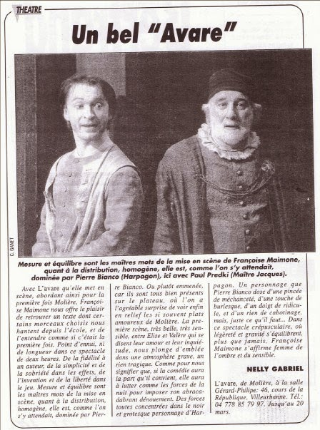 Article de Nelly Gabriel sur l'Avare