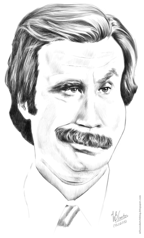 Caricature of Ron Burgundy, using MyPaint.