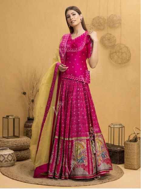Pink Bandhani Silk Lehenga With Rajputi Tunic