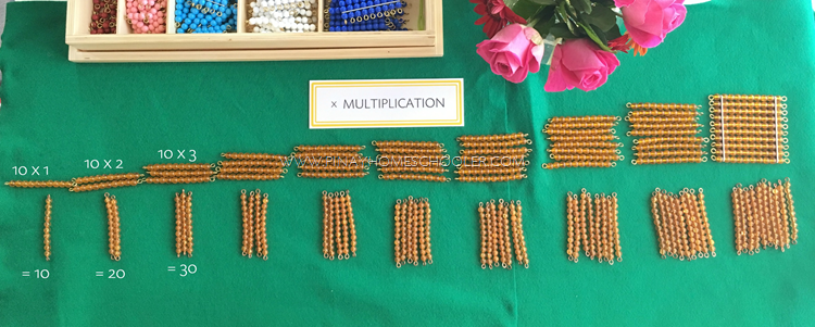 Multiplication table of 10 with Bead Bars
