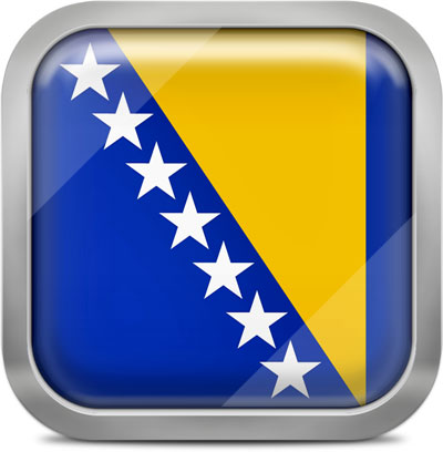 Bosnia and Herzegovina square flag with metallic frame