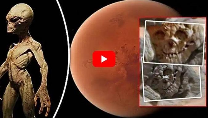 crânio fossilizado no Planeta Vermelho