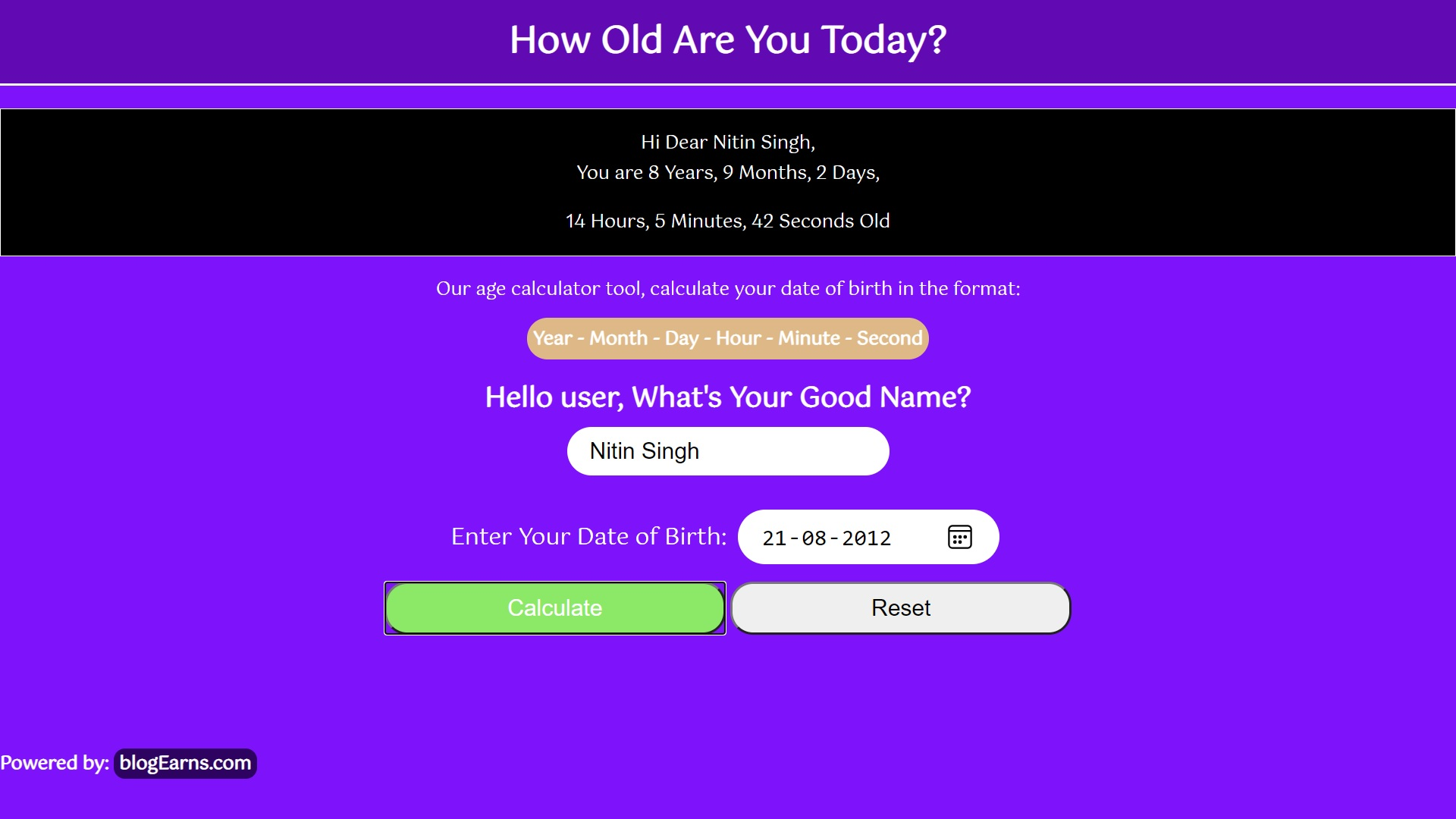 How to create Age Calculator in HTML CSS & JavaScript- Output