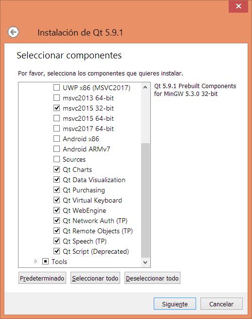 Instalar componentes Qt