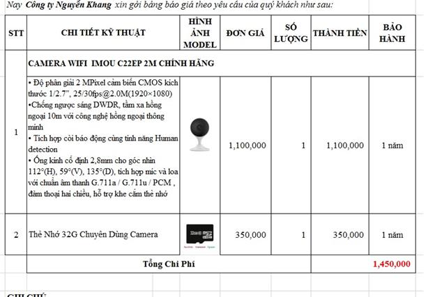 Bảng giá lắp đặt camera wifi Imou C22 tại Quận 12