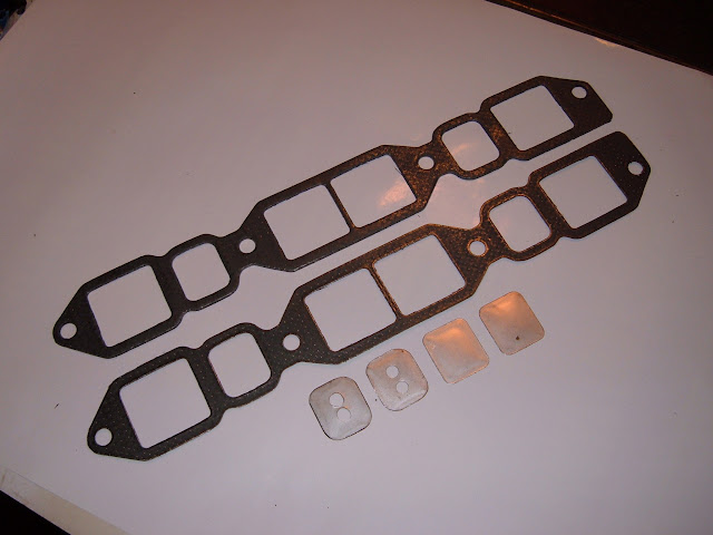 # HPIG..Hi Performance intake gaskets, best for aluminum intakes on 364-401-425. Restrict or plug exhaust heat to intake. Plates come without holes. 10 HP 21.00