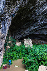 Matthias climbing next to the cave