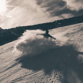 huuush by Goran Gašparac - Sports & Fitness Snow Sports ( skiing, black and white, sunspot, white, powder, sport, skii, sun, winter, vacation, slope, snow, fast, breaking, black )