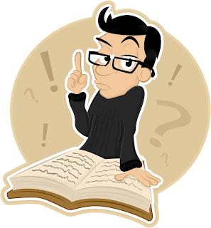 Cartoon man and a book