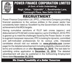 PFC Recruitment 2017 Advertisement