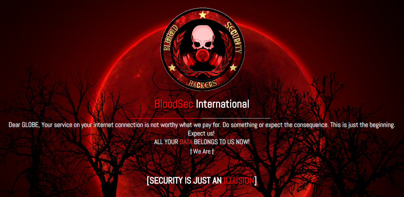 globe telecom websites hacked by bloodsec international