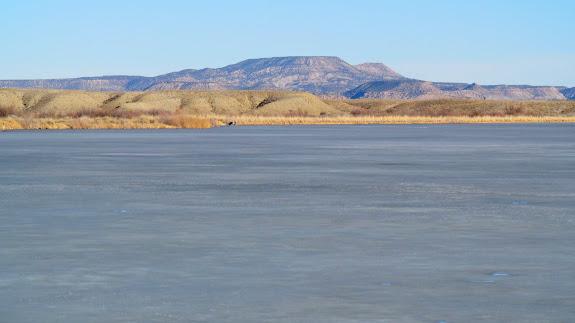 A still-frozen Desert Lake