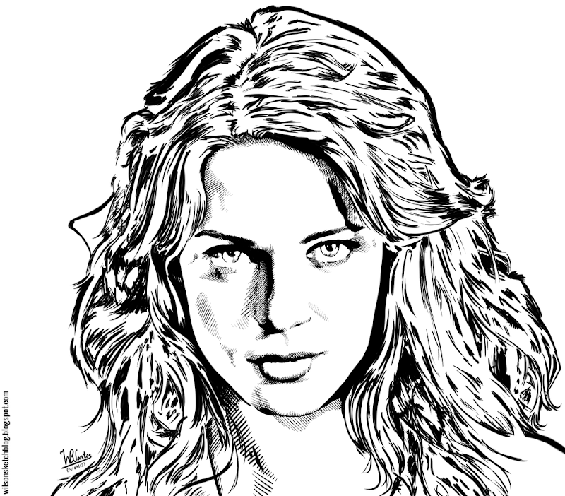 Ink drawing of Lyndsy Fonseca, using Krita 2.5 Beta.