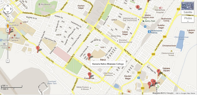 Kamala Nehru Womens College Bhubaneswar Area Map