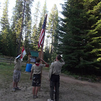Flag ceremony in camp