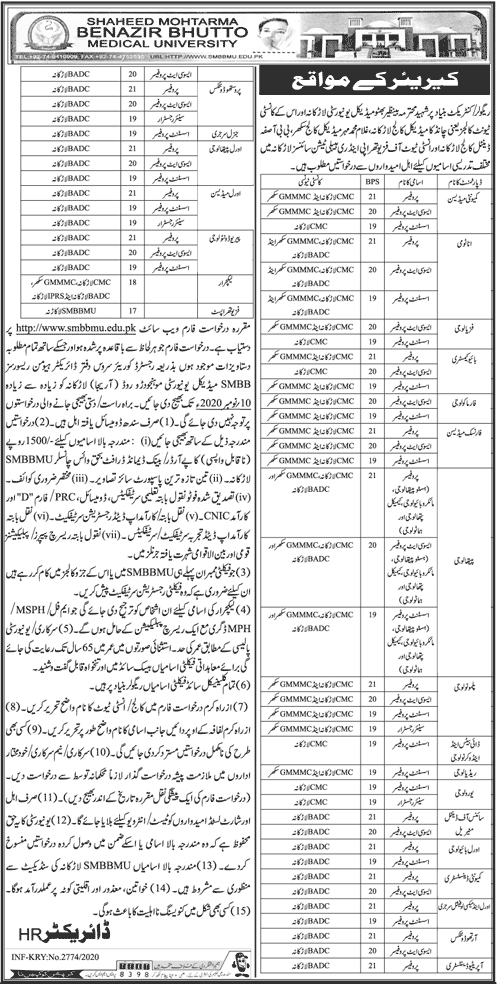 784+Vacancy Shaheed Mohtarma Benazir Bhutto Medical University Jobs October 2020